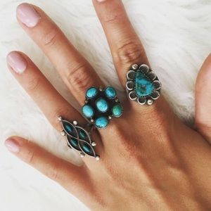 Vintage Sterling Silver + Turquoise Flower Ring